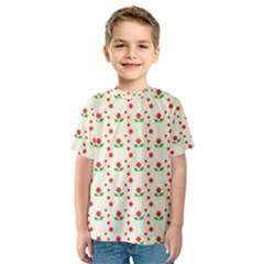 Flower Floral Sunflower Rose Star Red Green Kids  Sport Mesh Tee by Mariart