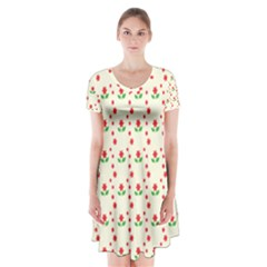 Flower Floral Sunflower Rose Star Red Green Short Sleeve V Neck Flare Dress by Mariart