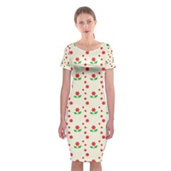 Flower Floral Sunflower Rose Star Red Green Classic Short Sleeve Midi Dress by Mariart