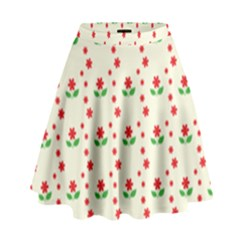 Flower Floral Sunflower Rose Star Red Green High Waist Skirt by Mariart