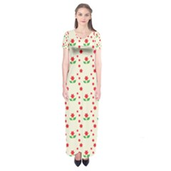 Flower Floral Sunflower Rose Star Red Green Short Sleeve Maxi Dress by Mariart
