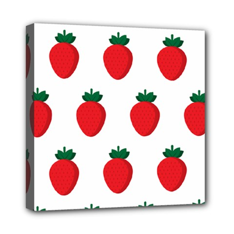 Fruit Strawberries Red Green Mini Canvas 8  X 8  by Mariart