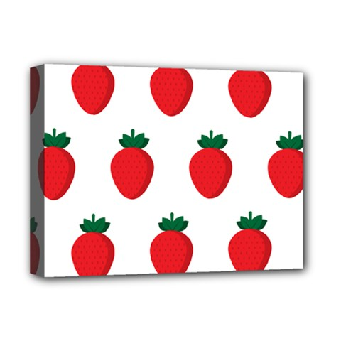 Fruit Strawberries Red Green Deluxe Canvas 16  X 12   by Mariart