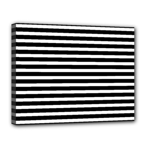 Horizontal Stripes Black Canvas 14  X 11  by Mariart