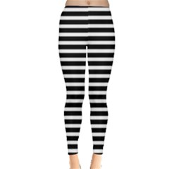 Horizontal Stripes Black Leggings  by Mariart