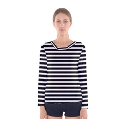 Horizontal Stripes Black Women s Long Sleeve Tee by Mariart