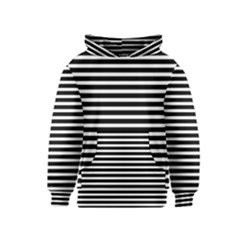 Horizontal Stripes Black Kids  Pullover Hoodie by Mariart