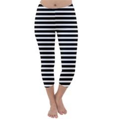 Horizontal Stripes Black Capri Winter Leggings  by Mariart
