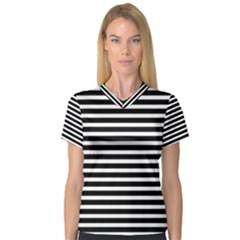 Horizontal Stripes Black Women s V Neck Sport Mesh Tee by Mariart