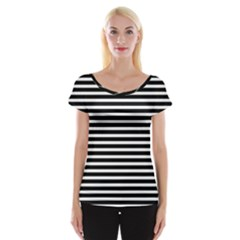 Horizontal Stripes Black Women s Cap Sleeve Top by Mariart