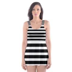Horizontal Stripes Black Skater Dress Swimsuit by Mariart