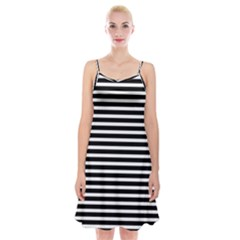 Horizontal Stripes Black Spaghetti Strap Velvet Dress by Mariart