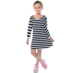 Horizontal Stripes Black Kids  Long Sleeve Velvet Dress by Mariart