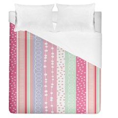 Heart Love Valentine Polka Dot Pink Blue Grey Purple Red Duvet Cover (queen Size) by Mariart