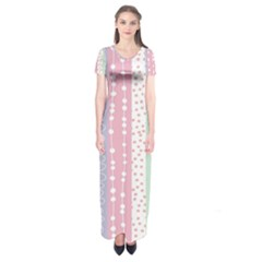Heart Love Valentine Polka Dot Pink Blue Grey Purple Red Short Sleeve Maxi Dress by Mariart