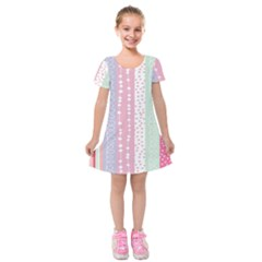 Heart Love Valentine Polka Dot Pink Blue Grey Purple Red Kids  Short Sleeve Velvet Dress by Mariart