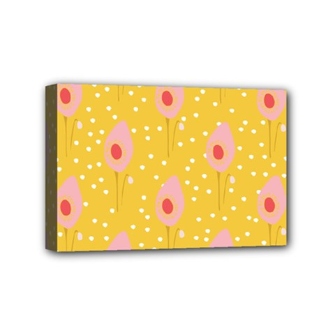 Flower Floral Tulip Leaf Pink Yellow Polka Sot Spot Mini Canvas 6  X 4  by Mariart