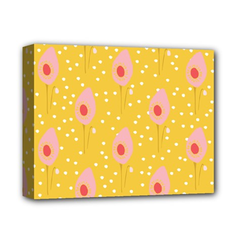 Flower Floral Tulip Leaf Pink Yellow Polka Sot Spot Deluxe Canvas 14  X 11  by Mariart