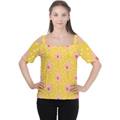 Flower Floral Tulip Leaf Pink Yellow Polka Sot Spot Women s Cutout Shoulder Tee by Mariart