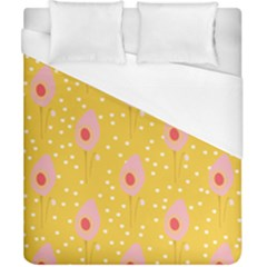 Flower Floral Tulip Leaf Pink Yellow Polka Sot Spot Duvet Cover (california King Size) by Mariart