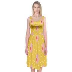 Flower Floral Tulip Leaf Pink Yellow Polka Sot Spot Midi Sleeveless Dress by Mariart