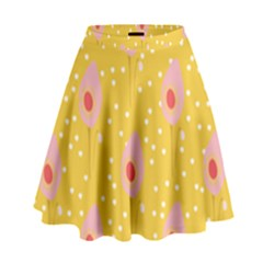 Flower Floral Tulip Leaf Pink Yellow Polka Sot Spot High Waist Skirt by Mariart