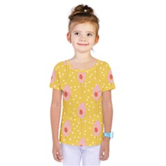 Flower Floral Tulip Leaf Pink Yellow Polka Sot Spot Kids  One Piece Tee by Mariart