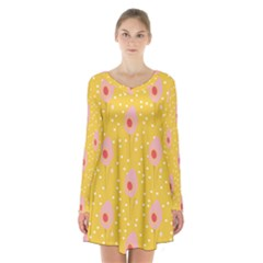 Flower Floral Tulip Leaf Pink Yellow Polka Sot Spot Long Sleeve Velvet V Neck Dress by Mariart