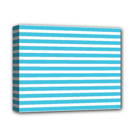 Horizontal Stripes Blue Deluxe Canvas 14  X 11  by Mariart