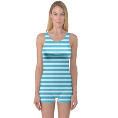 Horizontal Stripes Blue One Piece Boyleg Swimsuit by Mariart
