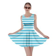 Horizontal Stripes Blue Skater Dress