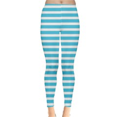 Horizontal Stripes Blue Leggings  by Mariart
