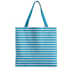 Horizontal Stripes Blue Zipper Grocery Tote Bag by Mariart