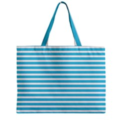Horizontal Stripes Blue Zipper Mini Tote Bag by Mariart