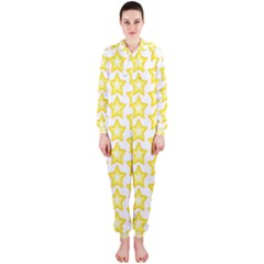 Yellow Orange Star Space Light Hooded Jumpsuit (ladies)  by Mariart
