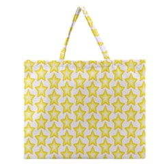 Yellow Orange Star Space Light Zipper Large Tote Bag by Mariart
