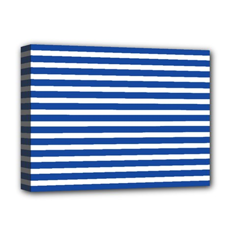Horizontal Stripes Dark Blue Deluxe Canvas 16  X 12   by Mariart