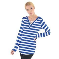 Horizontal Stripes Dark Blue Women s Tie Up Tee by Mariart