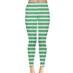 Horizontal Stripes Green Leggings  by Mariart