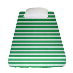 Horizontal Stripes Green Fitted Sheet (single Size) by Mariart