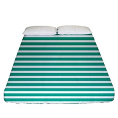 Horizontal Stripes Green Teal Fitted Sheet (king Size) by Mariart