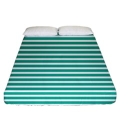 Horizontal Stripes Green Teal Fitted Sheet (california King Size) by Mariart
