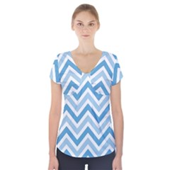 Zig Zags Pattern Short Sleeve Front Detail Top by Valentinaart