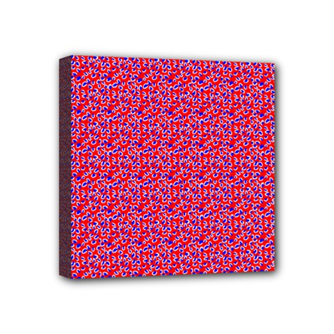 Red White And Blue Leopard Print  Mini Canvas 4  X 4  by PhotoNOLA