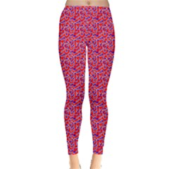 Red White And Blue Leopard Print  Leggings  by PhotoNOLA