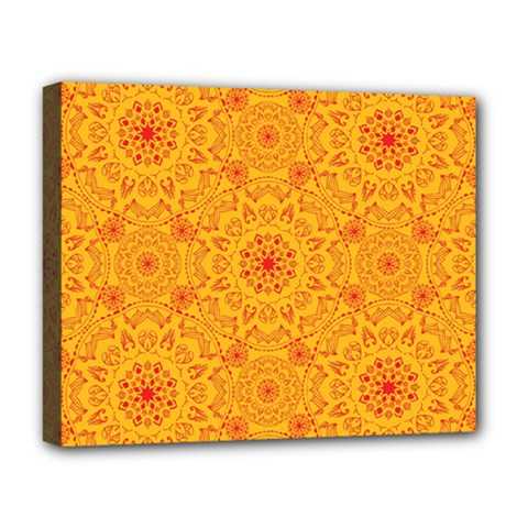 Solar Mandala  Orange Rangoli  Deluxe Canvas 20  X 16  (stretched) by bunart