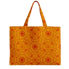 Solar Mandala  Orange Rangoli  Medium Tote Bag by bunart