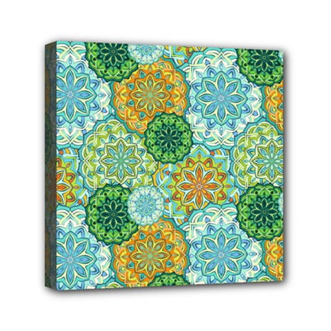 Forest Spirits  Green Mandalas  Mini Canvas 6  X 6  (stretched) by bunart