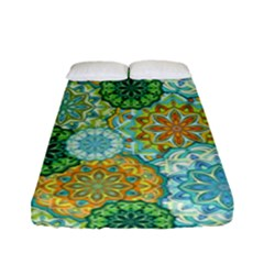 Forest Spirits  Green Mandalas  Fitted Sheet (full/ Double Size) by bunart