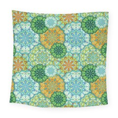 Forest Spirits  Green Mandalas  Square Tapestry (large) by bunart